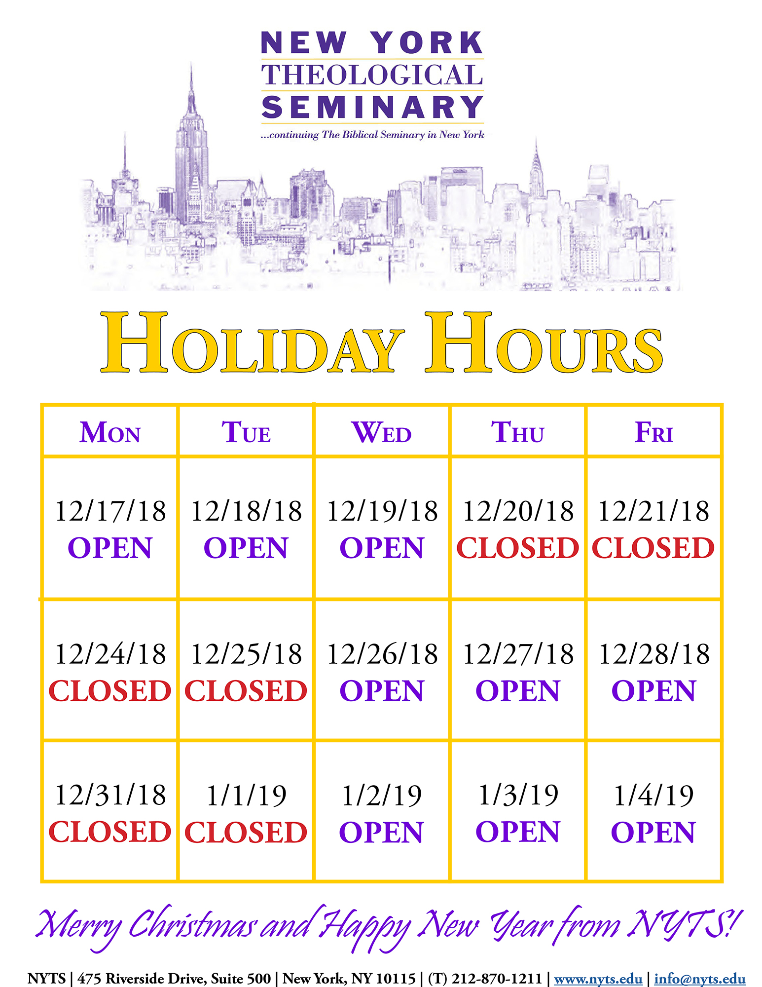 NYTS 2018 Holiday Hours