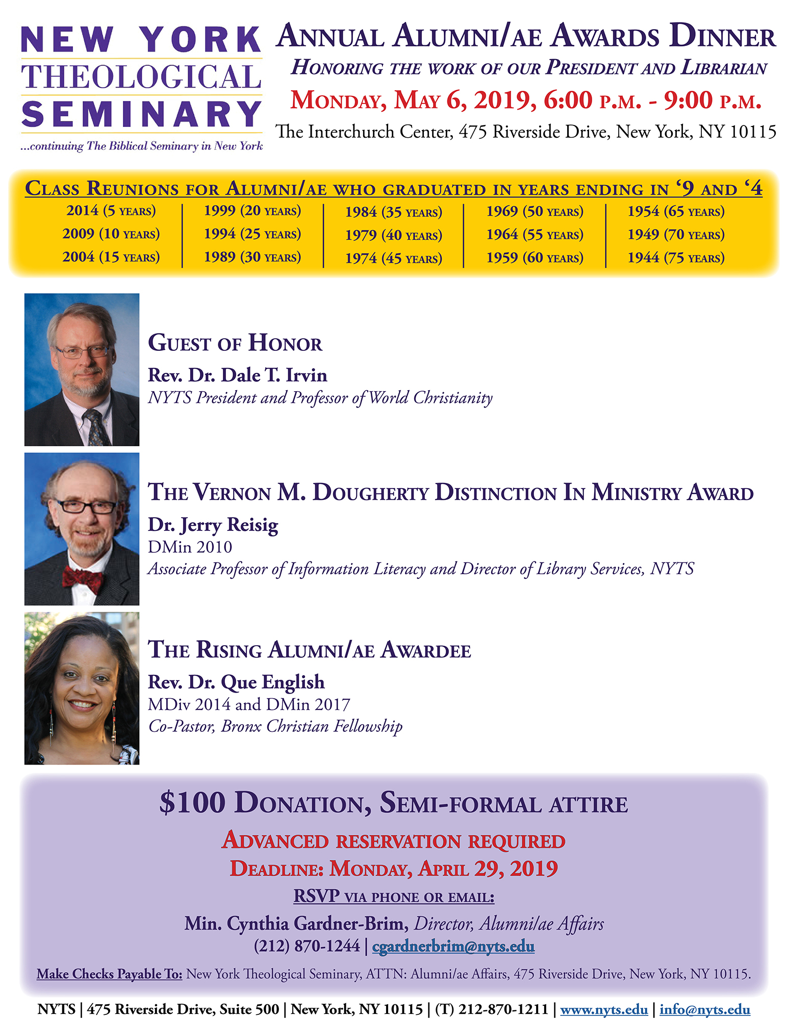 2019 NYTS Alumniae Awards Dinner Flyer